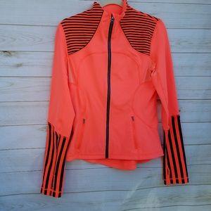 Lululemon jacket 8 neon orange/navy like new